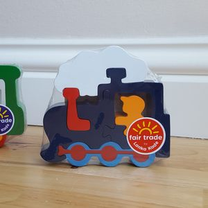 Jigsaw Wooden Train Blue Or Green - traditional toys & games