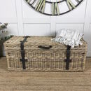 Handcrafted Timber Rattan Large Storage Trunk