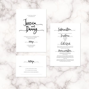 Letter Lovers Modern Calligraphy Wedding Invitation