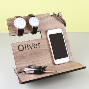 Men's Personalised Wooden Accessory Stand - tablet accessories