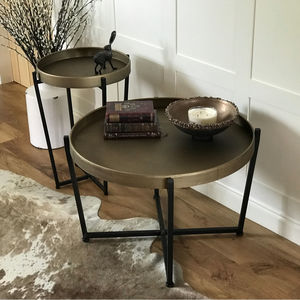 Bronze Coloured Iron Tray Table With Black Iron Legs - side tables