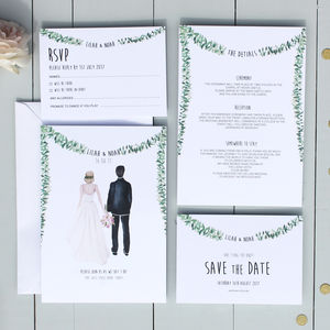 Personalised Illustrated Couple Wedding Invitation - brand new partners