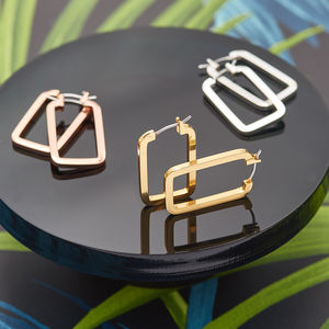 Geometric Square Edge Oblong Hoops - contemporary jewellery