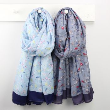 Light and Dark Blue Bird and Blossom Scarves