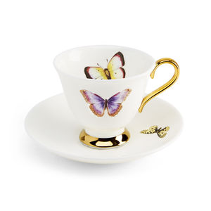 Butterflies Teacup And Saucer - kitchen