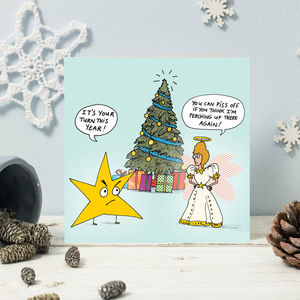 Star And Angel Christmas Cards