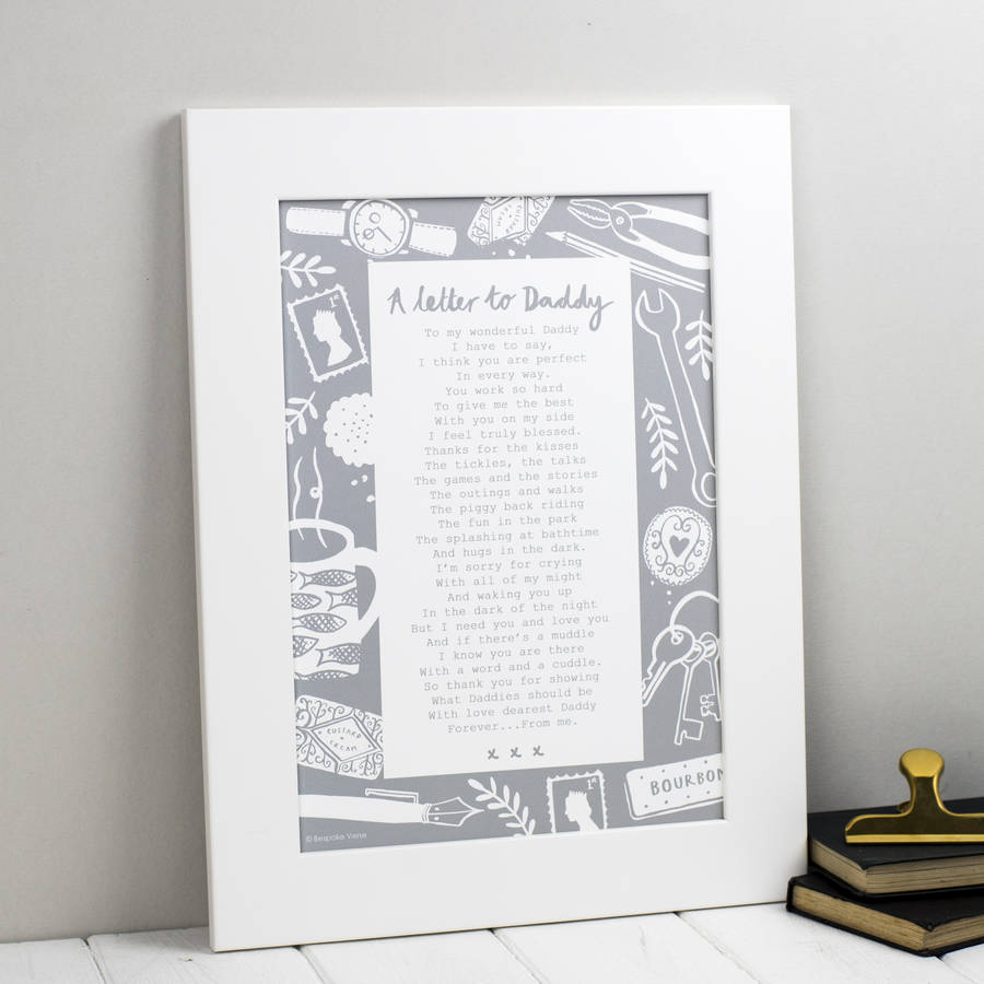 A Letter To Daddy Poem Print By Bespoke Verse  NotonthehighstreetCom
