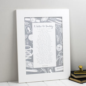 Personalised Daddy Print With Letter To Daddy Poem - posters & prints