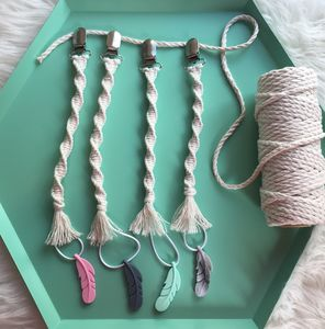 Macrame Dummy Clip With Silicone Feather Teether