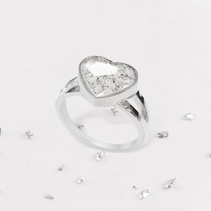 Memorial Resin Ashes Heart Inlaid Ring