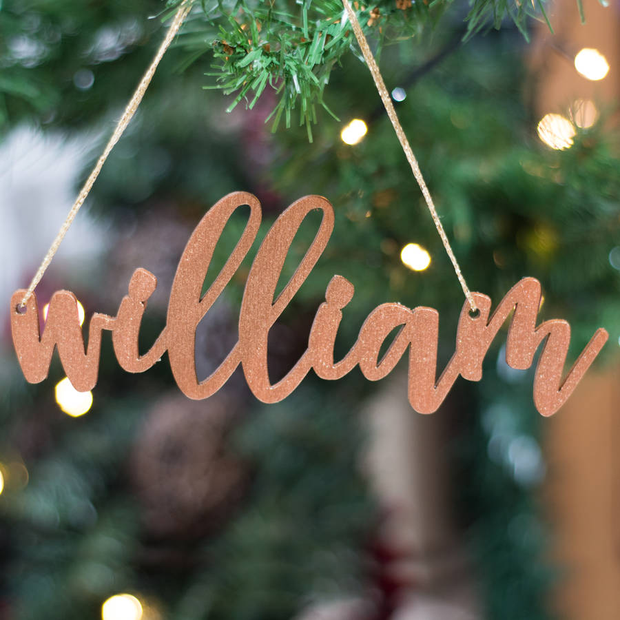 personalised glitter copper christmas tree decorations - Christmas Tree Decorations Names