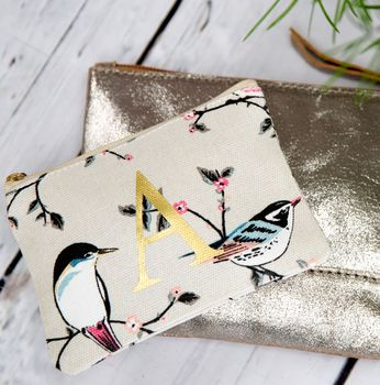Summer Bird Print Coin Purse With A Gold Letter