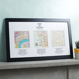 Personalised Map Wedding Art - frequent travellers