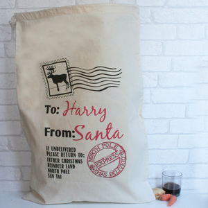 Personalised Cotton Christmas Sack Santa Stamp - stockings & sacks