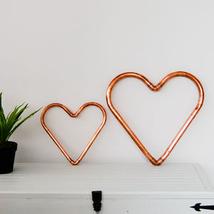 Handmade Copper Heart Decoration - hanging decorations