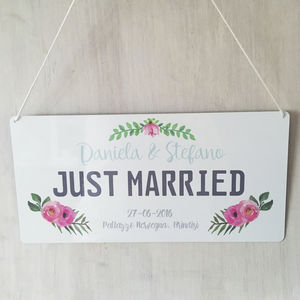Personalised Just Married Sign