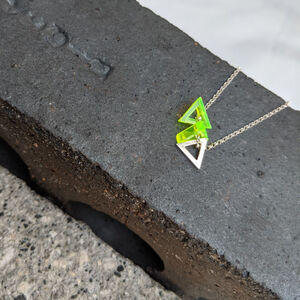 Silver And Perspex Triangle Necklace : Bob Collection