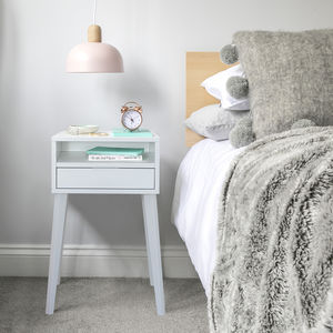 White Bedside Table With Angled Legs