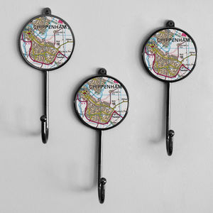 Personalised UK Postcode Map Wall Coat Hook - home accessories