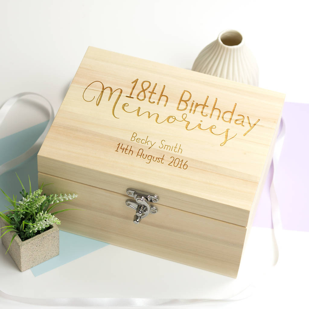 Personalised 18th Birthday Memories Keepsake Box By