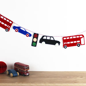 Sparkly Traffic Jam Bunting - baby's room