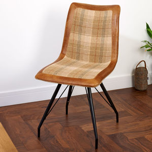 Vintage Leather Or Harris Tweed Dining Chair - furniture