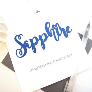 Sapphire 45th Wedding Anniversary Card - anniversary cards