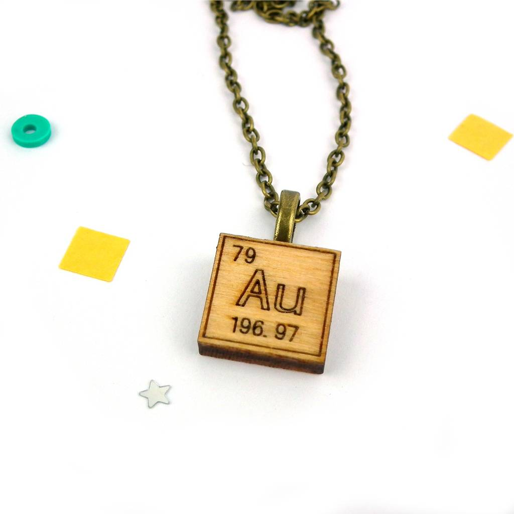 Periodic table chemical element necklace by red paper house periodic table chemical element necklace gold au urtaz Gallery