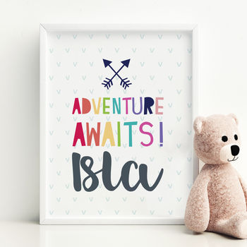 Adventure Awaits Personalised Framed Print