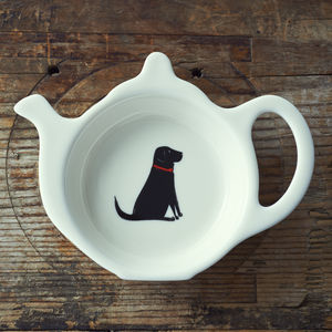 Black Labrador Tea Bag Dish - tableware