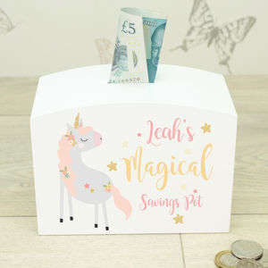 Personalised White Wooden Unicorn Girls Money Box