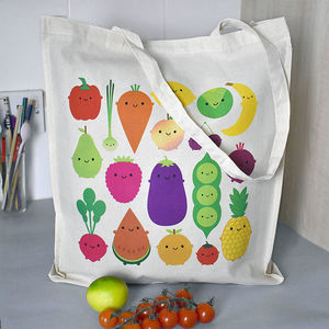 Five A Day Kawaii Fruit And Vegetables Shopper Bag