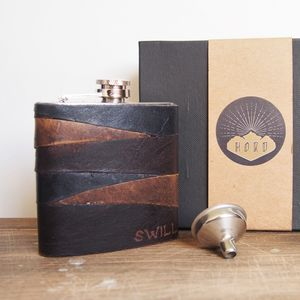 Personalised Rugged Leather Hip Flask - hip flasks