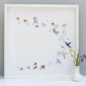 Personalised Papercut 'Flock Of Birds' Framed Artwork - modern & abstract