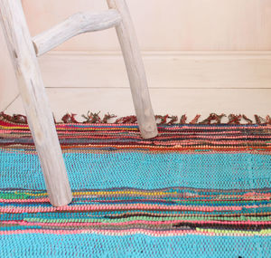 Fairtrade Mexican Style Panelled Cotton Rag Rug
