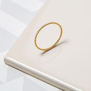 9ct Yellow Gold Skinny Ball Stacking Ring - rings