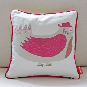 Bird Print Cotton Cushion - cushions