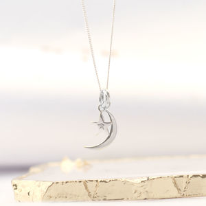 Diamond Set Star And Crescent Moon Silver Necklace - necklaces & pendants