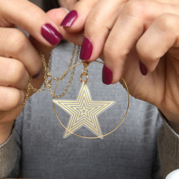 Super Star Gold Hoop Necklace