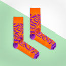 Orange And Purple Tiger Print Sock