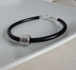 Silver And Leather Tube Bead Bracelet