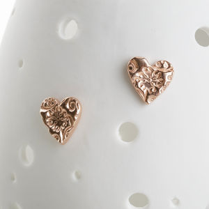 Rose Gold Vermeil Floral Heart Stud Earrings - earrings