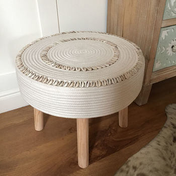 Coastal Natural Shell Detail Four Leg Stool