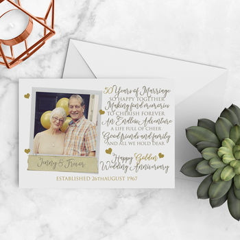 Personalised 50th Golden Wedding Anniversary Photo Card