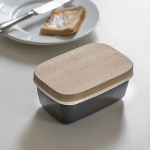 Butter Dish With Wooden Lid - tableware