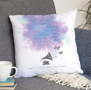 Personalised Song Lyrics Faux Suede Cushion - living room