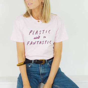 'Plastic Ain't So Fantastic' Illustrated T Shirt