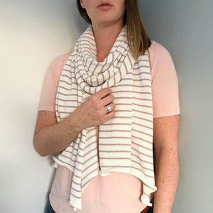 Ladies Knitted Striped Cotton Scarf - gifts for her