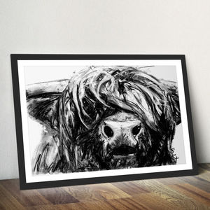 Highland Cow Charcoal Fine Art Giclée Print - animals & wildlife