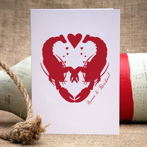 Lobster Love Personalised Card - engagement cards